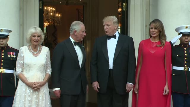 donald trump state visit: trump and first lady melania welcome duke and duchess of cornwall to banquet; england: london: winfield house: ext **some... - state dinner stock videos & royalty-free footage