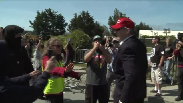 ktla donald trump supporter and protestor engage in a confrontation outside the california republican convention in burlingame - confrontation stock videos & royalty-free footage