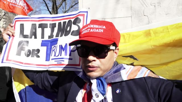 donald trump supporters / anti – donald trump protesters gathered in the columbus circle 59th street vicinity near the upper west side trump... - presidents day stock videos and b-roll footage