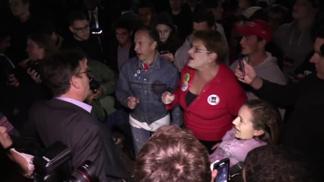 donald trump supporters argue with clinton supporters in a large crowd that gathered in front of the white house as the 2016 presidential elections... - 2016 stock videos & royalty-free footage
