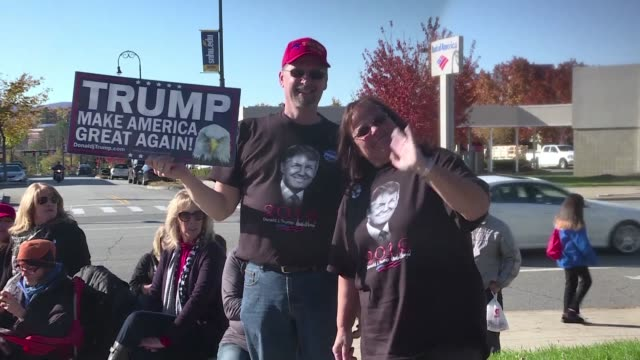 Donald Trump supporters arrive hours ahead of the Republican candidate's penultimate rally in Manchester New Hampshire confident he has what it takes...