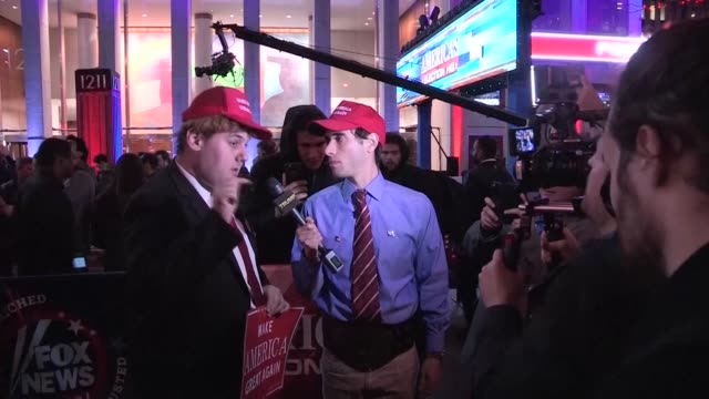 Donald Trump supporters gather in front a Fox News building in New York to follow the results of the US presidential election as the Billionaire...