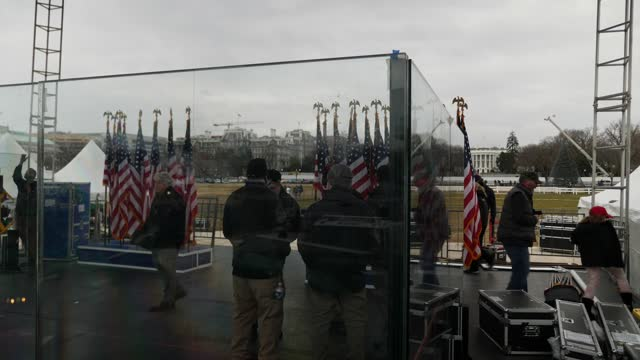 donald trump supporters gather in washington dc ahead of rally; usa: washington dc: ext gvs white house seen behind stage and american flags behind... - political rally stock videos & royalty-free footage