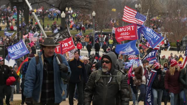 donald trump supporters storm the united states capitol building; usa: washington dc: national mall: ext various shots trump supporters with flags... - history stock videos & royalty-free footage