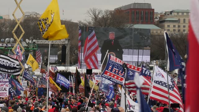 donald trump supporters storm the united states capitol building; usa: washington dc: national mall: ext gvs large american flag passed over crowd gv... - political rally stock videos & royalty-free footage