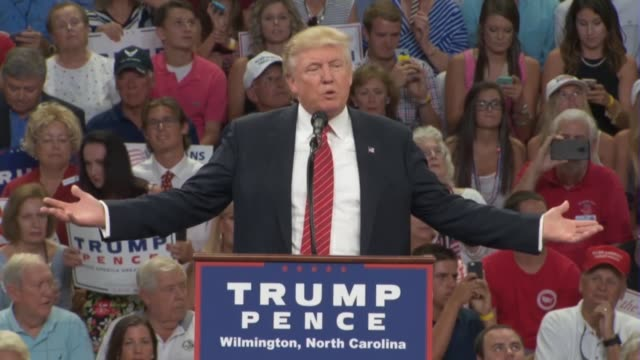 Donald Trump tells a political rally in Wilmington North Carolina that he is doing well in the primaries saying that the next president could...