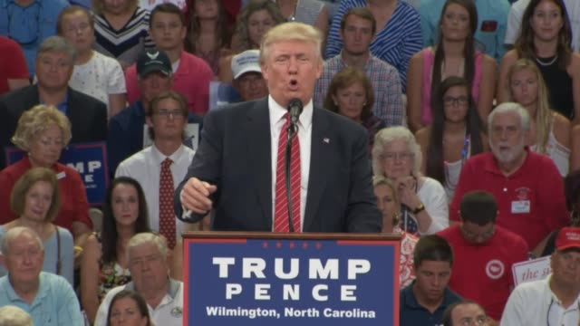 stockvideo's en b-roll-footage met donald trump tells a political rally in wilmington north carolina that hillary clinton wants to invade foreign countries saying he will obtain... - respect