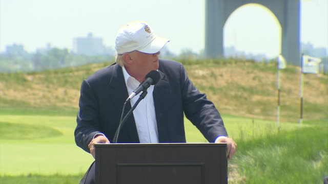 donald trump thanks those that have helped with the new trump golf links but also praises himself for the new course's success trump ferry point golf... - golf links stock videos and b-roll footage
