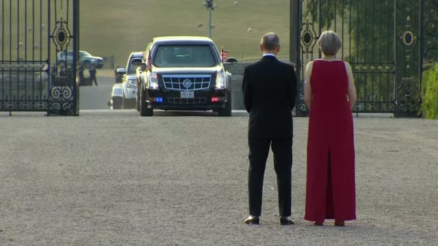 arrival in britain following nato summit uk oxfordshire us president donald trump arrives at blenheim palace for black tie dinner hosted by theresa... - dinner lady stock videos & royalty-free footage