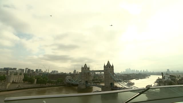 antitrump protests across the uk england london ext marine one helicopter flying across sky wide shot of helicopter flying over tower bridge sadiq... - sadiq khan stock videos & royalty-free footage