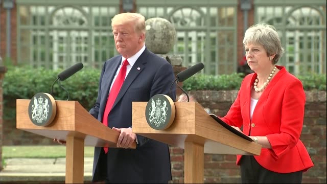 donald trump uk visit day 2: chequers joint press conference: questions with theresa may; england: buckinghamshire: chequers: ext donald trump and... - prime minister's questions stock videos & royalty-free footage