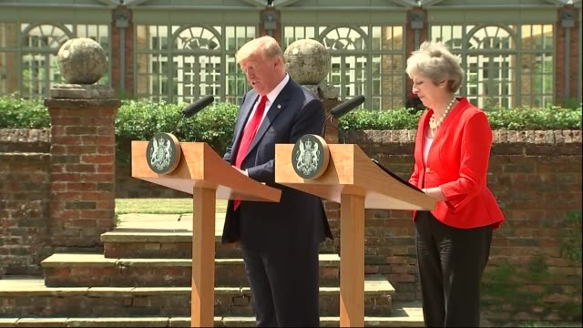 donald trump backtracks on his criticism of theresa may uk buckinghamshire chequers theresa may mp and donald trump along together and joint press... - theresa may stock videos & royalty-free footage