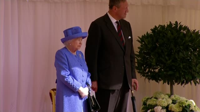 donald trump meets the queen at windsor castle uk berkshire windsor castle queen elizabeth ii meeting donald trump and melania trump at windsor... - windsor england stock videos and b-roll footage