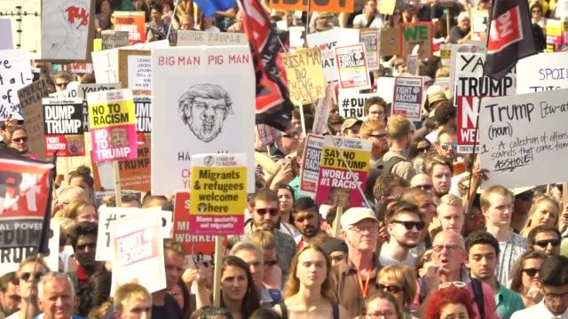 gvs trafalgar square protest and cutaways jeremy corbyn speech england london trafalgar square ext various gvs antitrump protesters in trafalgar... - day 2 stock videos & royalty-free footage