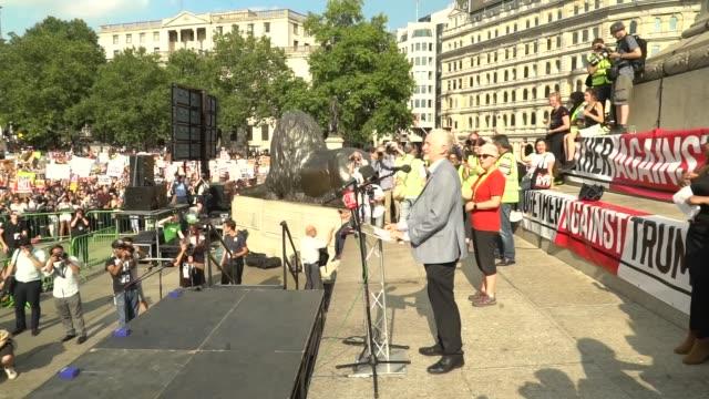 gvs trafalgar square protest and cutaways jeremy corbyn speech england london trafalgar square ext cutaways of jeremy corbyn mp arrival and speech to... - day 2 stock videos & royalty-free footage