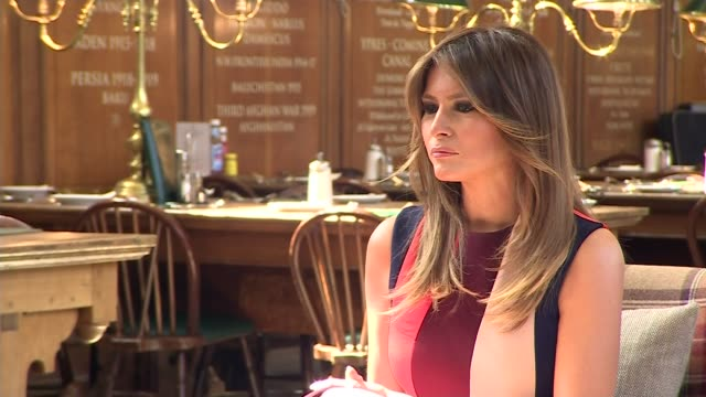 melania trump meets schoolchildren and chelsea pensioners england london royal hospital chelsea int melania trump and philip may seated at meeting... - melania trump stock videos & royalty-free footage