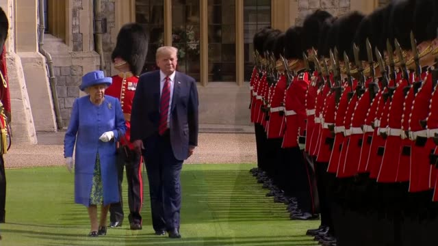 donald trump uk visit day 2: trump backtracks on his criticism of theresa may; uk, windsor castle: donald trump and melania trump meet queen... - berkshire england stock videos & royalty-free footage