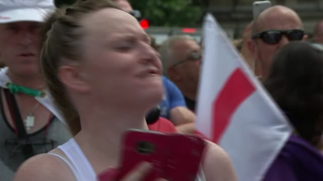 Arrests at far right pro Trump and 'Free Tommy Robinson' protests in London UK London Far right 'Free Tommy Robinson' protests in Trafalgar Square /...
