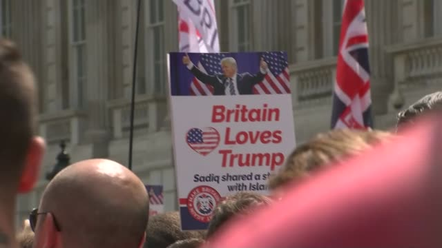 Arrests at far right pro Trump and 'Free Tommy Robinson' protests in London UK London Far right Pro Trump and 'Free Tommy Robinson' protesters...
