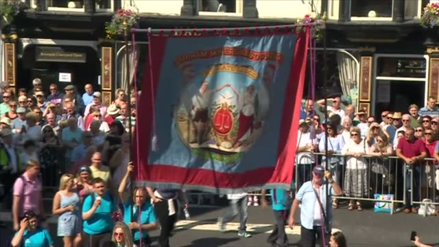 Jeremy Corbyn interview re Trump and Brexit and at Durham Miners' Gala Durham Miners' Gala GVs of Durham Miners' Gala with people marching / band...