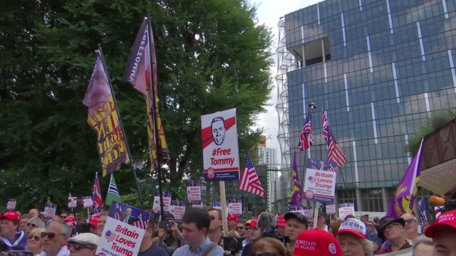 pro Trump and 'Free Tommy Robinson' protests in London / clashes with police ENGLAND London EXT Various of proTump and proTommy Robinson supporters...