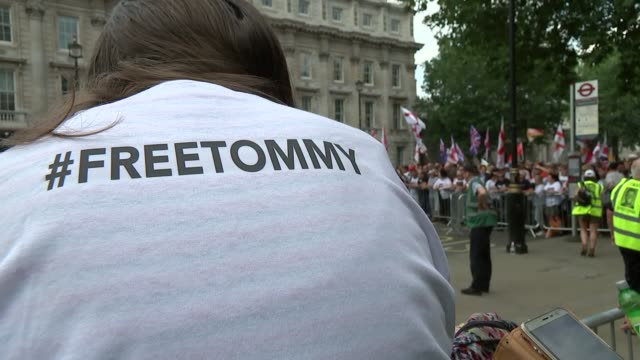 ProTommy Robinson and Donald Trump supporters in Trafalgar Square and Whitehall ENGLAND London Whitehall EXT Various of proTommy Robinson supporters...