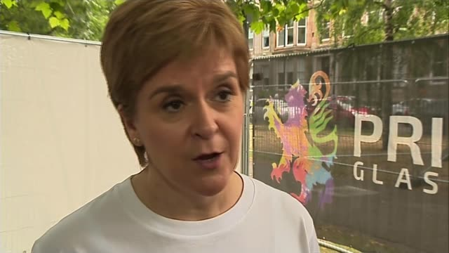 Trump met with protests during golf trip in Scotland SCOTLAND Glasgow EXT Nicola Sturgeon MSP interview SOT Well this is a UK government hosted visit...
