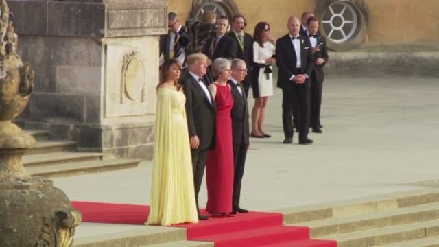 Donald Trump and Melania Trump arriving at Blenheim Palace ENGLAND Oxfordshire Blenheim Palace EXT Theresa May MP and husband Philip May Donald Trump...
