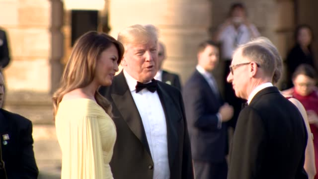 Trump arrival at Blenheim Palace ENGLAND Oxfordshire Blenheim Palace EXT Theresa May MP and husband Philip May greet Donald Trump and wife Melania...