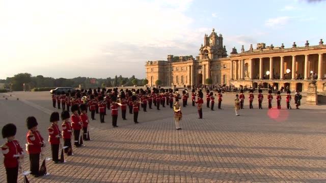 Trump arrival at Blenheim Palace ENGLAND Oxfordshire Blenheim Palace EXT Guests entering palace as band of the Irish Guards plays NATSOT / band...