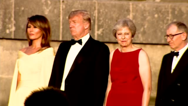 Trump arrival at Blenheim Palace ENGLAND Oxfordshire Blenheim Palace EXT Theresa May MP and husband Philip May Donald Trump and wife Melania Trump on...