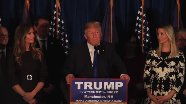 donald trump wins the new hampshire primary election as the gop candidate the full victory speech raw footage recorded using multiple box audio - election stock videos & royalty-free footage
