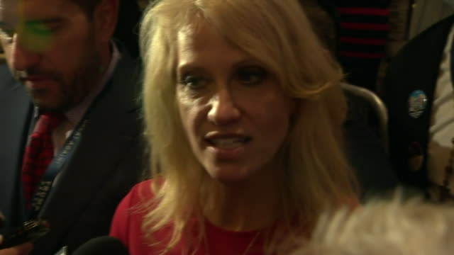 """donald trump's campaign manager kellyanne conway saying that they """"never gave up and never gave in"""" and saying the criticism was a test of the... - val evenemang bildbanksvideor och videomaterial från bakom kulisserna"""