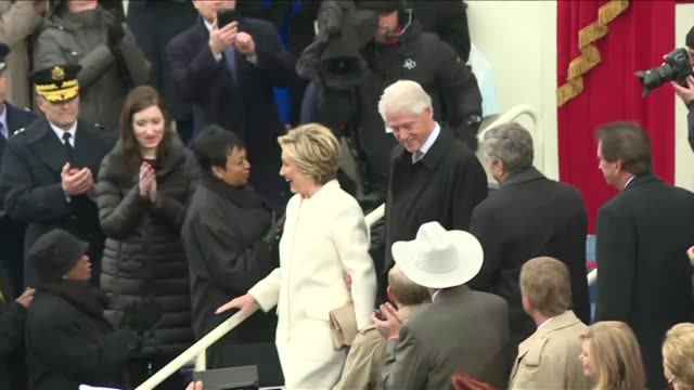 donald trump's democratic rival hillary clinton and her husband former president bill clinton arrive at the white house - bill clinton stock videos and b-roll footage
