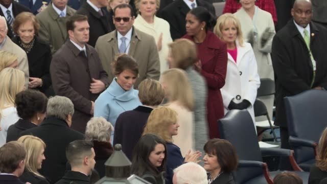donald trump's family arrives on the platform for the inauguration includes shots of ivanka tiffany eric don melania and barron shot from the side... - melania trump stock videos & royalty-free footage