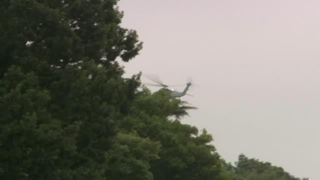 Donald Trump's helicopter arriving at Sandhurst