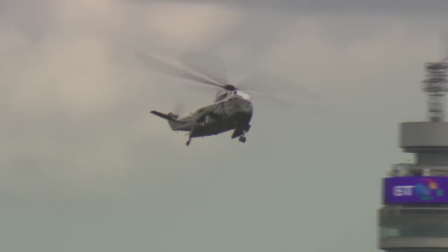 Donald Trump's helicopter flying over the city of London to Buckingham Palace where he is greeted by Prince Charles and Camilla Duchess of Cornwall