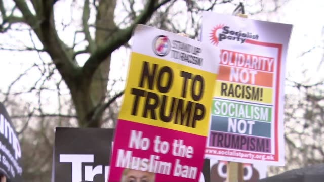 Donald Trumps scraps planned February visit to open new US Embassy R200217007 / 2022017 London Westminster Parliament Square EXT Various of antiTrump...