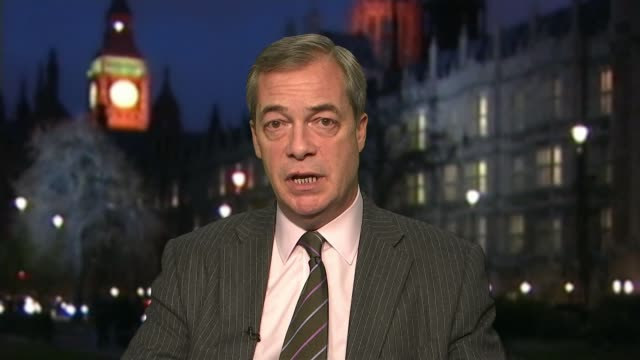 donald trumps scraps planned february visit to open new us embassy; england: london: westminster: int nigel farage mep interview sot - リチャード・パロット点の映像素材/bロール