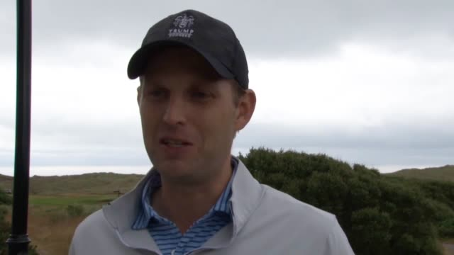 donald trump's son eric discusses his father's visit to the uk, at trump international golf links at the menie estate in aberdeenshire. - golf links stock videos & royalty-free footage