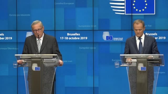 donald tusk and jeanclaude juncker give their closing press conference after an eu summit where member states took decisions about eu enlargement to... - decisions stock videos & royalty-free footage