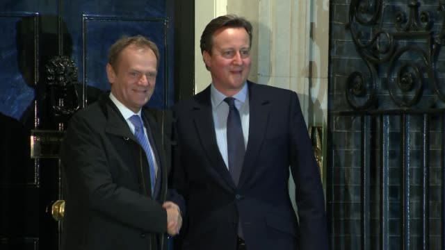 Donald Tusk arrival and inside Downing Street ENGLAND London Downing Street PHOTOGRAPHY*** Donald Tusk along Downing Street and shaking hands with...