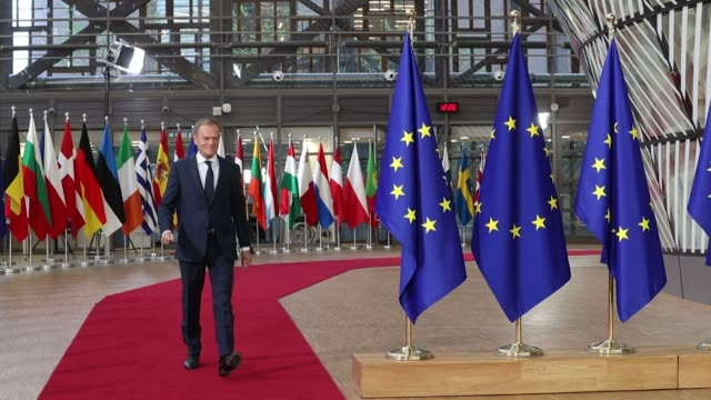 donald tusk president of the european union arrives at a european union leaders summit at the europa building in brussels belgium on thursday dec 14... - lithuania stock videos & royalty-free footage