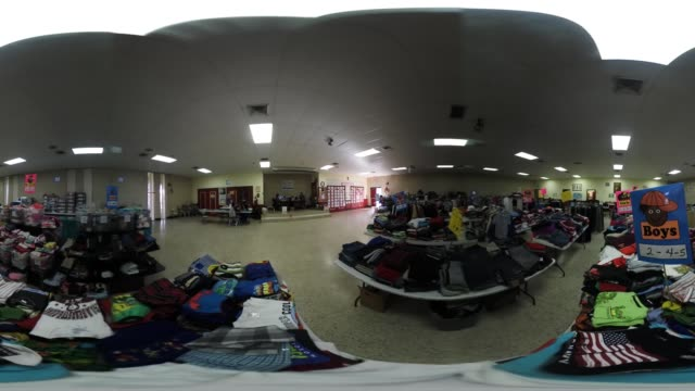'Donated clothing awaits new arrivals to the Immigrant Respite Center on March 16 2017 in McAllen Texas The center located in McAllen's Sacred Heart...