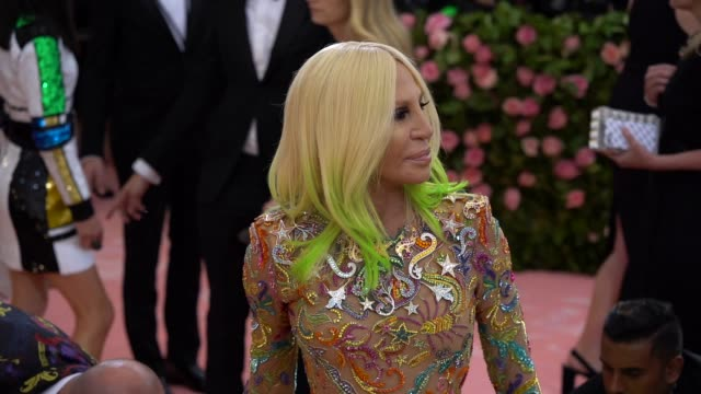 donatella versace at the 2019 met gala celebrating camp notes on fashion arrivals at metropolitan museum of art on may 06 2019 in new york city - gala stock videos and b-roll footage