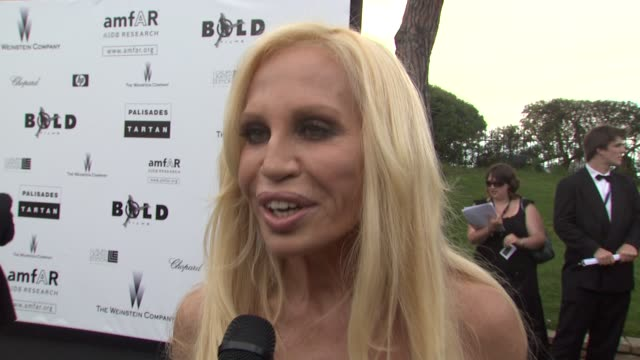 Donatella Versace on this event being important to attend at the Cannes Film Festival 2009 amfAR Red Carpet at Antibes