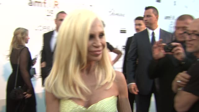 Donatella Versace on why amfAR is important and on Elizabeth Taylor at the amfAR Gala Red Carpet Arrivals 64th Cannes Film Festival at Antibes