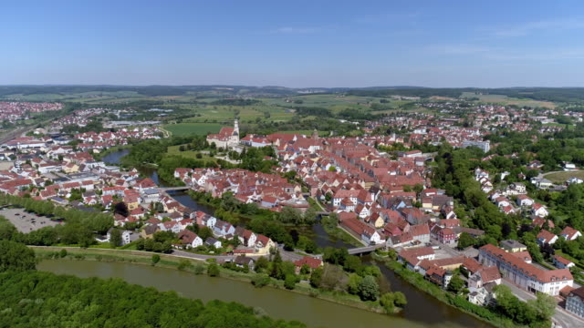 donauwörth and danube river in bavaria - river danube video stock e b–roll