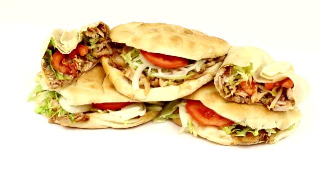 doner and durum kebab - kebab stock videos and b-roll footage