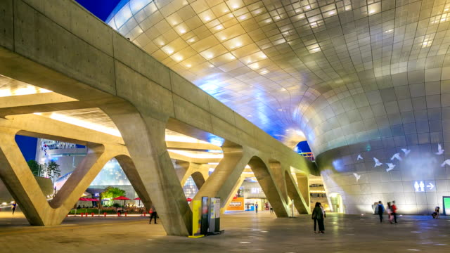 dongdaemun design plaza town - museum stock videos & royalty-free footage